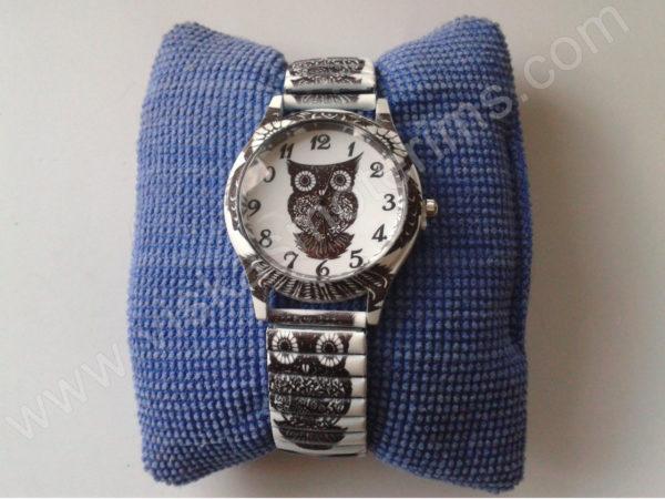 Moteriškas laikrodis Pelėda su spyruokline apyranke ant pagalvėlės