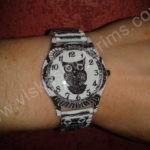 Moteriškas laikrodis Pelėda su spyruokline apyranke ant rankos
