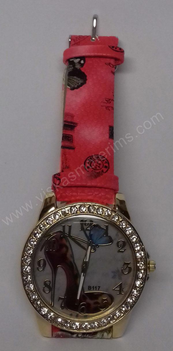 Moteriškas laikrodis su bateliu ir drugeliu ciferblate - ciferblatas ir dirželis iš arčiau 2