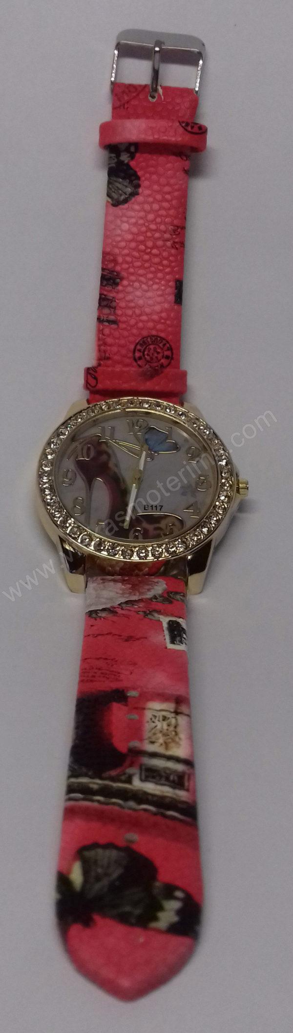 Moteriškas laikrodis su bateliu ir drugeliu ciferblate - visu ilgiu