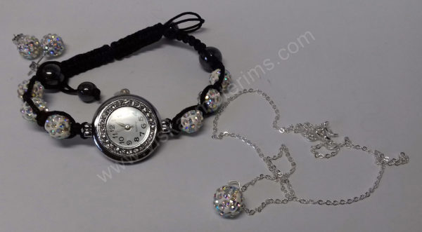 Moteriškas laikrodis-apyrankė su kristalais + grandinėlė ir auskarai