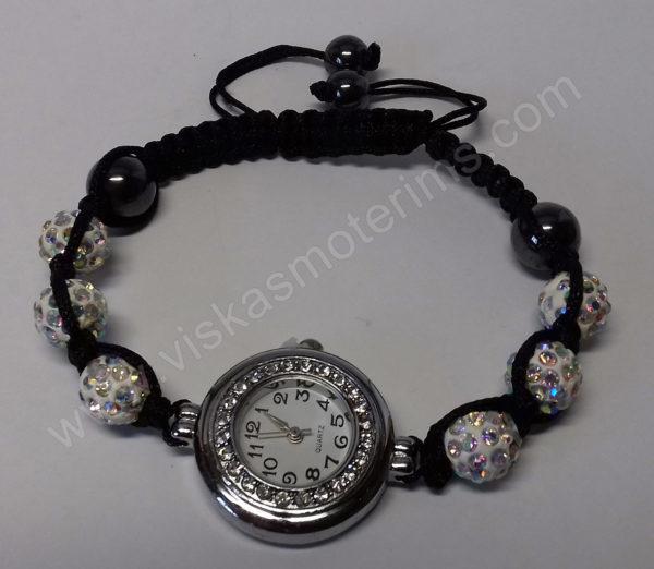 Moteriškas laikrodis-apyrankė su kristalais + grandinėlė ir auskarai - laikrodukas