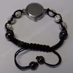 Moteriškas laikrodis-apyrankė su kristalais + grandinėlė ir auskarai - laikrodukas iš galo