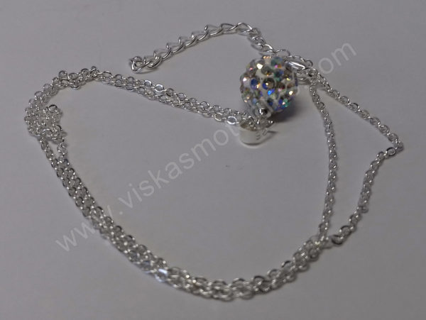 Moteriškas laikrodis-apyrankė su kristalais + grandinėlė ir auskarai - grandinėlė su pakabuku