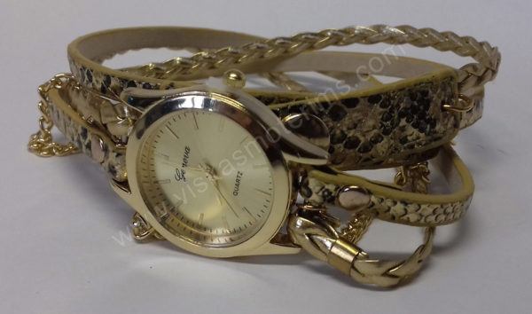 Moteriškas laikrodis aukso spalvos su medžiagine apyranke