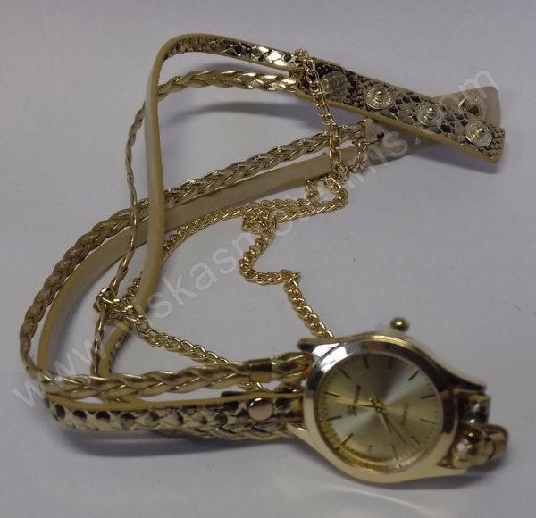 Moteriškas laikrodis aukso spalvos su medžiagine apyranke - išskleistas
