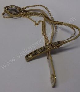 Moteriškas laikrodis aukso spalvos su medžiagine apyranke - išskleistas iš galo