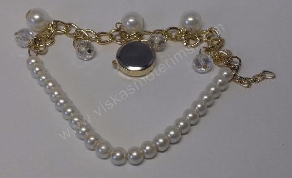 Moteriškas laikrodis-pakabukas ant apyrankės iš grandinėlės ir dirbtinių perliukų - iš galo