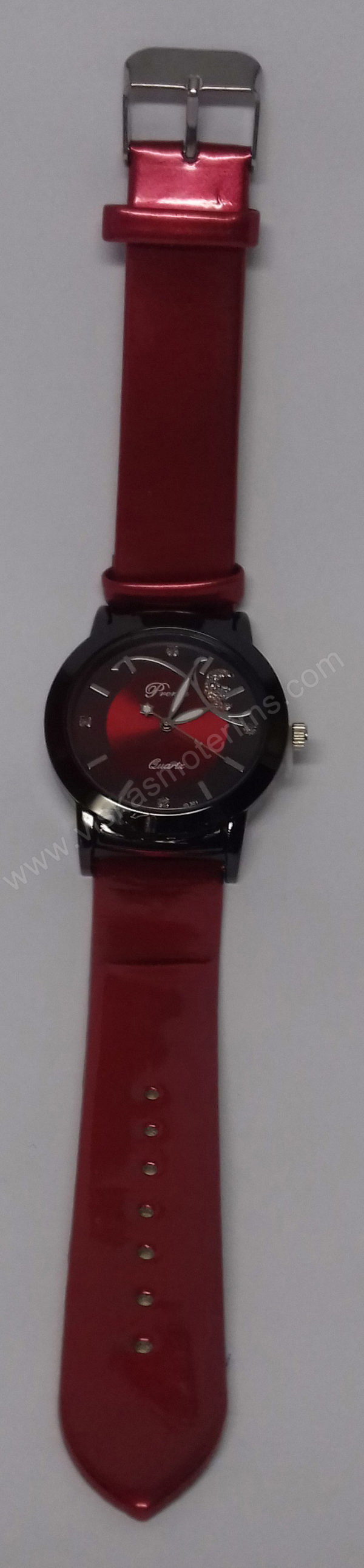 Moteriškas laikrodis raudonas Prema - visu ilgiu vertikaliai