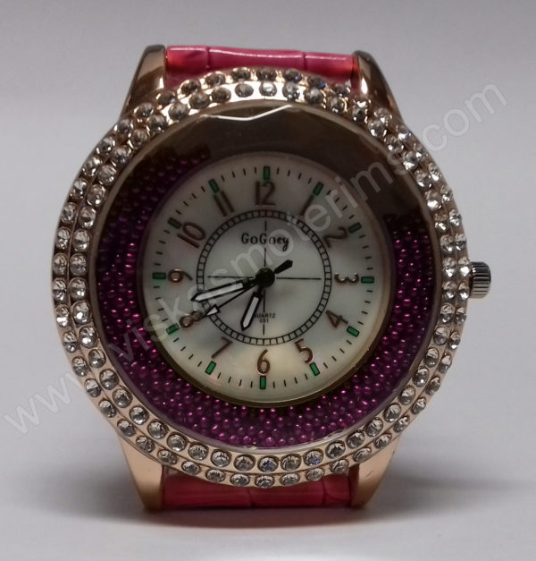 Moteriškas laikrodis su burbuliukais ciferblato viduje rožiniu dirželiu Go Goey