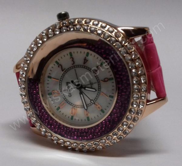 Moteriškas laikrodis su burbuliukais ciferblato viduje rožiniu dirželiu Go Goey - ant šono