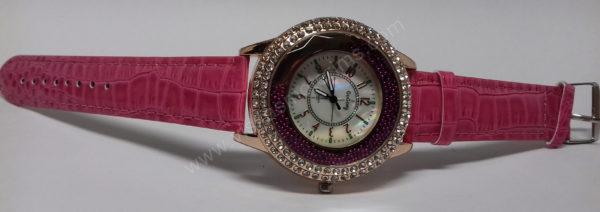 Moteriškas laikrodis su burbuliukais ciferblato viduje rožiniu dirželiu Go Goey - visu ilgiu ant šono