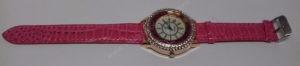 Moteriškas laikrodis su burbuliukais ciferblato viduje rožiniu dirželiu Go Goey - visu ilgiu