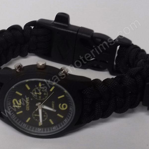Vyriškas juodas turistinis laikrodis 5 in 1 Geneva