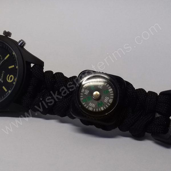 Vyriškas juodas turistinis laikrodis 5 in 1 Geneva - laikrodis, kompasas, grandiklis