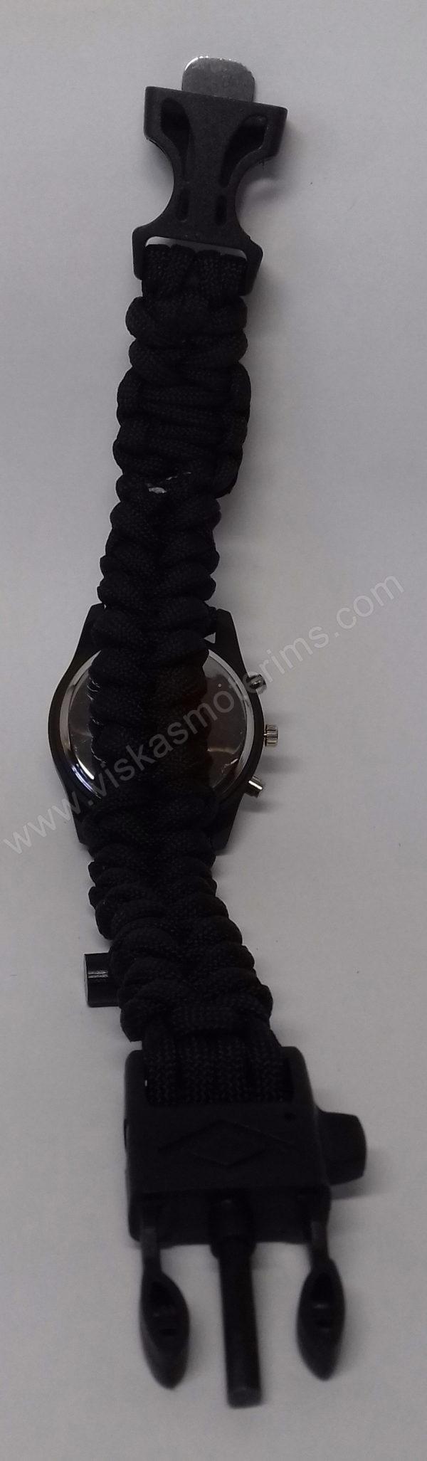 Vyriškas juodas turistinis laikrodis 5 in 1 Geneva - iš nugaros visu ilgiu