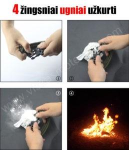 Vyriškas juodas turistinis laikrodis 5 in 1 Geneva - 4 žingsniai ugniai užkurti
