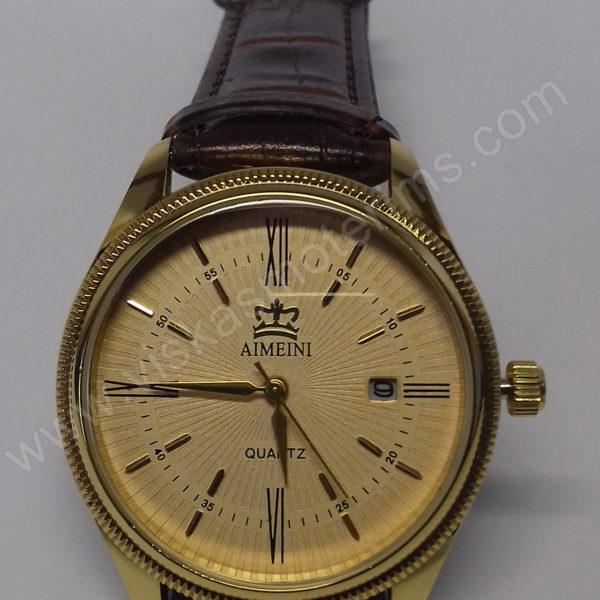 Vyriškas laikrodis Aimeini aukso spalvos su rudu dirželiu