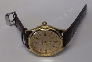 Vyriškas laikrodis Aimeini aukso spalvos su rudu dirželiu - ant šono