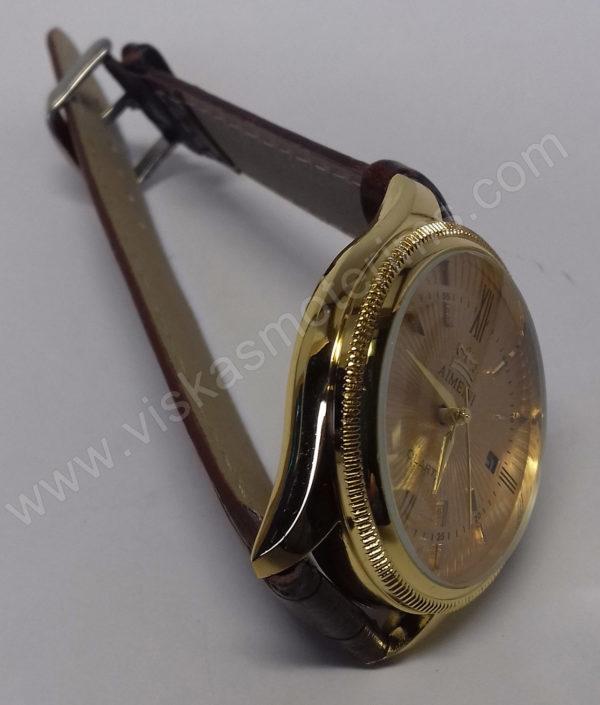 Vyriškas laikrodis Aimeini aukso spalvos su rudu dirželiu - ant šono - 2