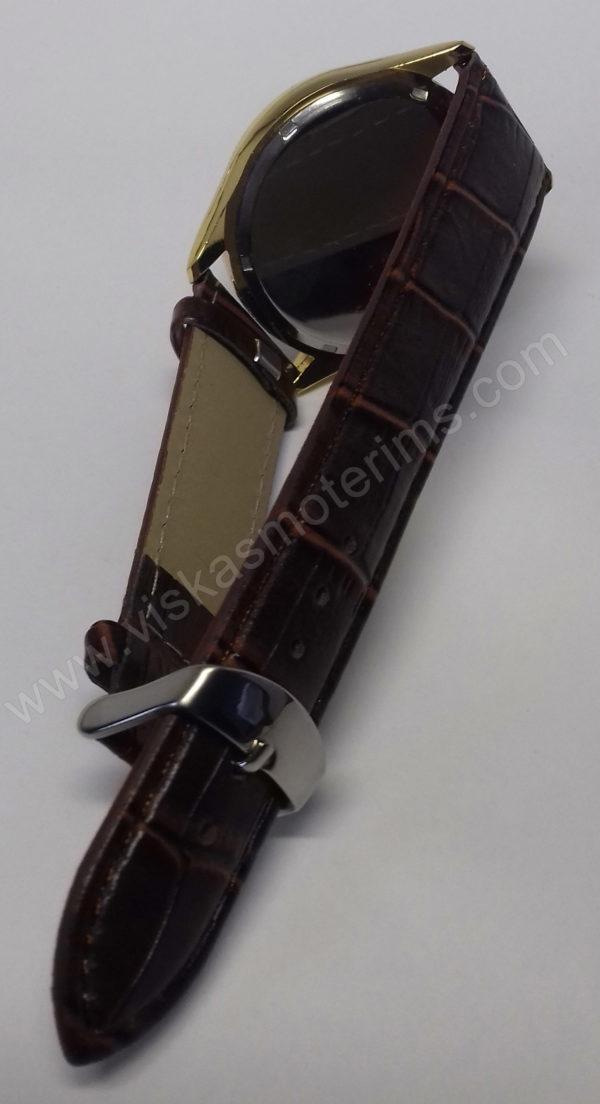 Vyriškas laikrodis Aimeini aukso spalvos su rudu dirželiu - iš galo susegtu dirželiu