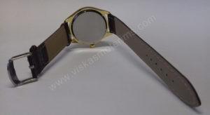 Vyriškas laikrodis Aimeini aukso spalvos su rudu dirželiu - iš galo atsegtu dirželiu