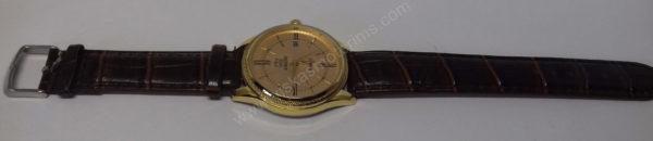 Vyriškas laikrodis Aimeini aukso spalvos su rudu dirželiu - visu ilgiu