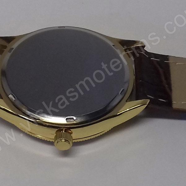 Vyriškas laikrodis Aimeini aukso spalvos su rudu dirželiu - visu ilgiu iš galo