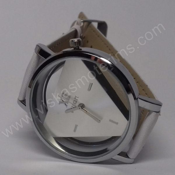 Vyriškas laikrodis baltas su trikampiniu ciferblatu - Milon - ciferblatas iš priekio