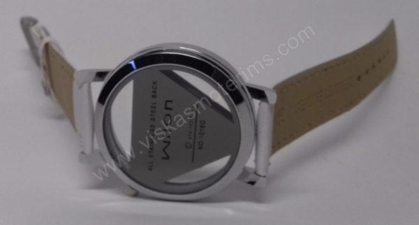 Vyriškas laikrodis baltas su trikampiniu ciferblatu - Milon - ciferblatas iš nugaros