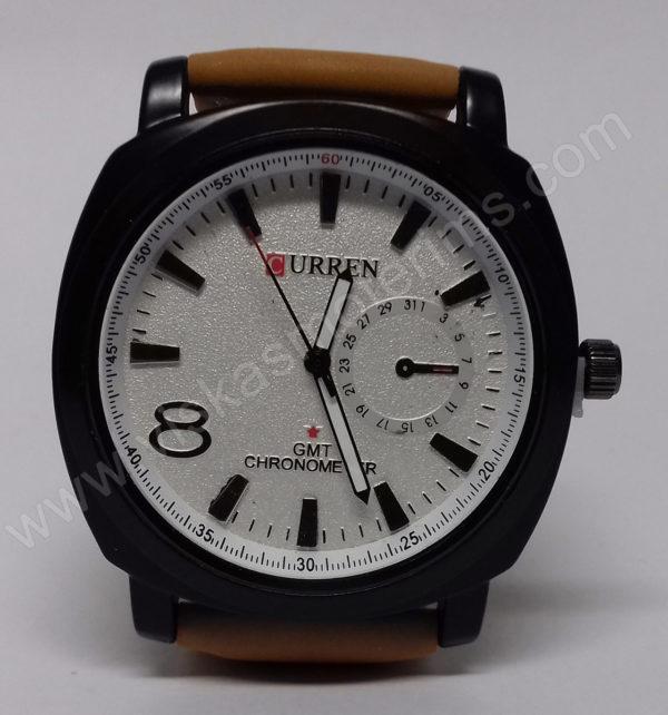Vyriškas laikrodis Curren baltu ciferblatu ir rudu dirželiu