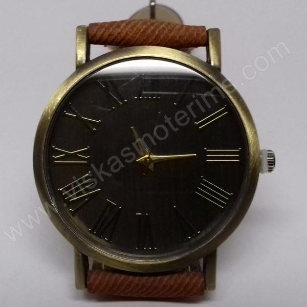 Vyriškas laikrodis juodu ciferblatu aukso spalvos ir rudu dirželiu