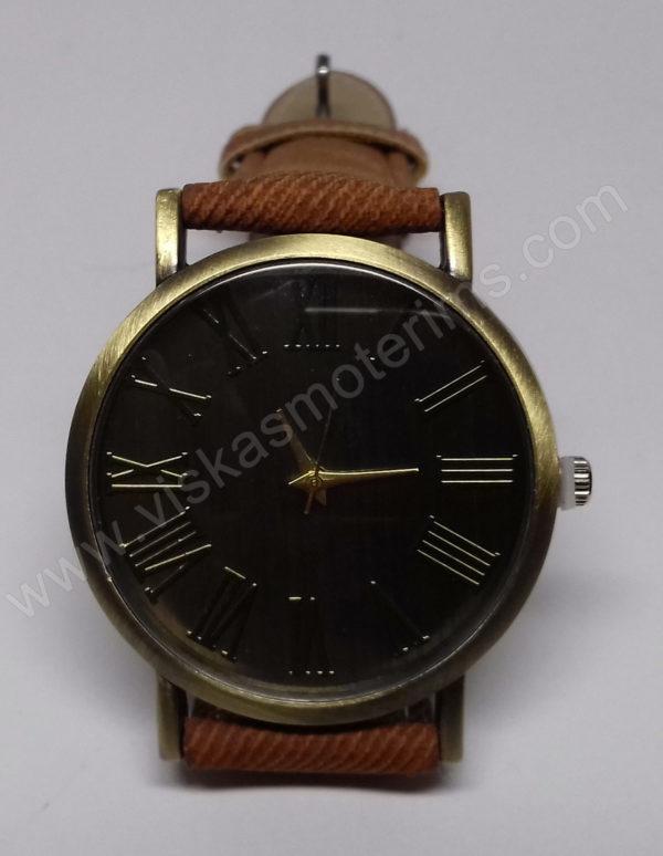Vyriškas laikrodis juodu ciferblatu aukso spalvos ir rudu dirželiu - iš arti