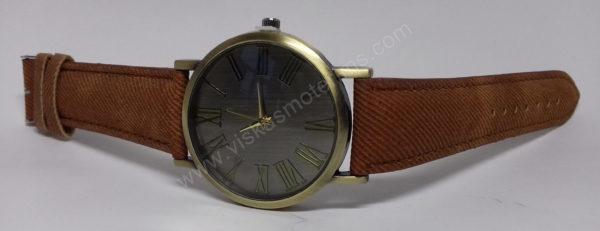 Vyriškas laikrodis juodu ciferblatu aukso spalvos ir rudu dirželiu - ant šono