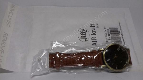 Vyriškas laikrodis juodu ciferblatu aukso spalvos ir rudu dirželiu - su siunčiamu voku