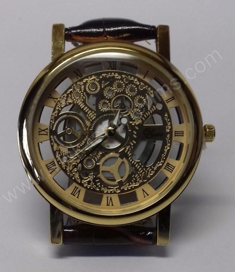 Vyriškas laikrodis su permatomu ciferblatu kaip Skeleton - ciferblatas iš arti