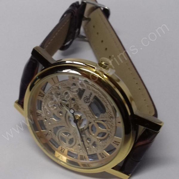 Vyriškas laikrodis su permatomu ciferblatu kaip Skeleton - ciferblatas ir susegtu dirželiu