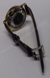 Vyriškas laikrodis su permatomu ciferblatu kaip Skeleton - iš galo ir susegtu dirželiu