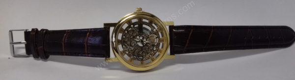 Vyriškas laikrodis su permatomu ciferblatu kaip Skeleton - iš priekio visu ilgiu
