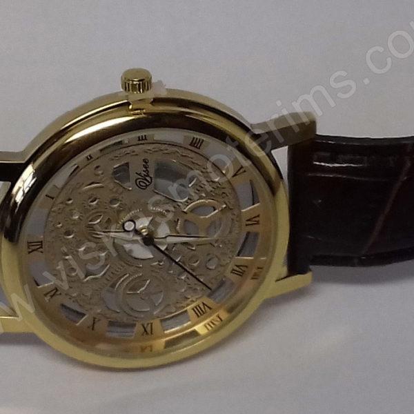 Vyriškas laikrodis su permatomu ciferblatu kaip Skeleton - iš priekio visu ilgiu - 2