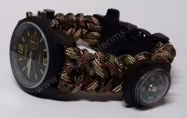 Vyriškas žalias turistinis laikrodis 5 in 1 - iš šono
