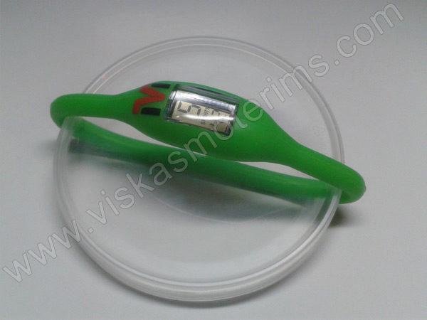 Elektroninis laikrodis silikonine apyranke (žalios spalvos)