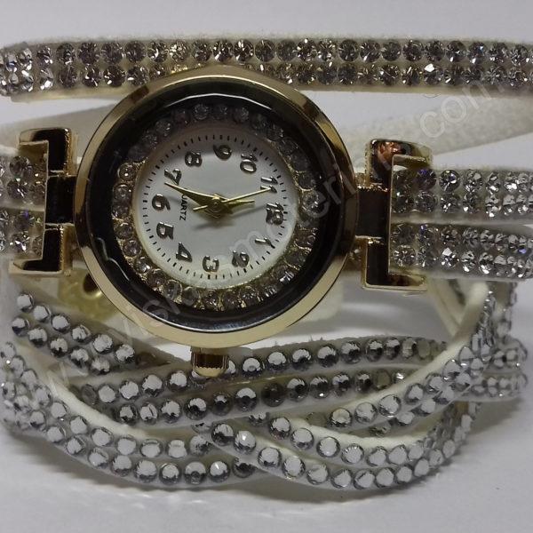 Moteriškas baltas laikrodis su medžiagine apyranke ir akmenukais