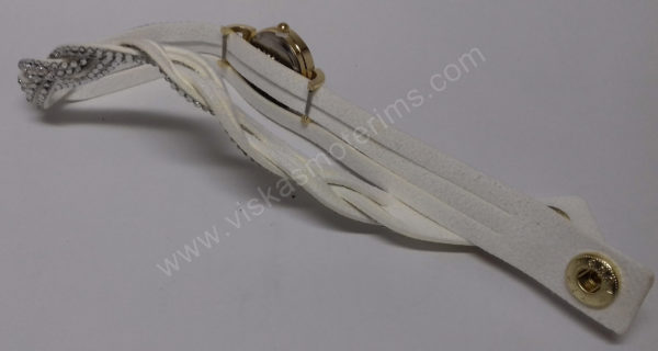 Moteriškas baltas laikrodis su medžiagine apyranke ir akmenukais - apyrankė