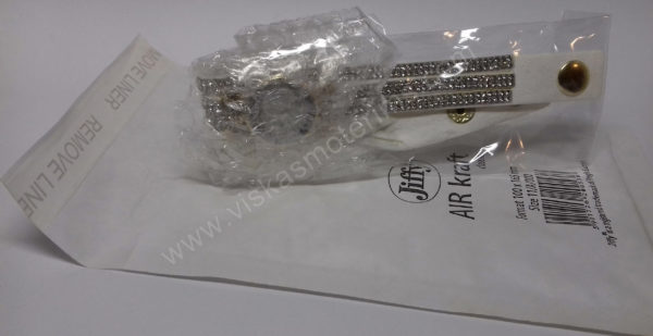 Moteriškas baltas laikrodis su medžiagine apyranke ir akmenukais - su voku