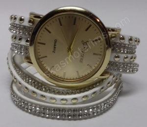 Motertiškas laikrodis balta medžiagine apyranke su akmenukais