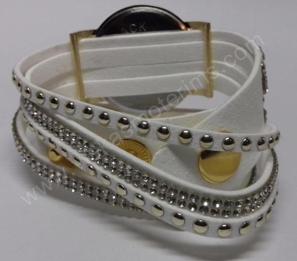 Motertiškas laikrodis balta medžiagine apyranke su akmenukais - iš galo