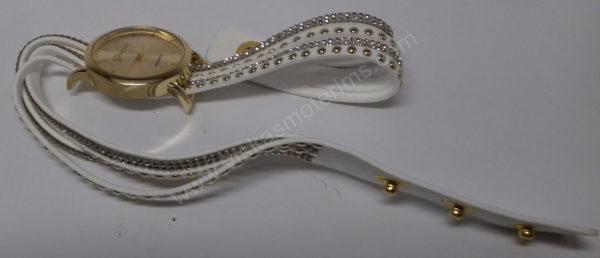 Motertiškas laikrodis balta medžiagine apyranke su akmenukais - iš priekio visu ilgiu