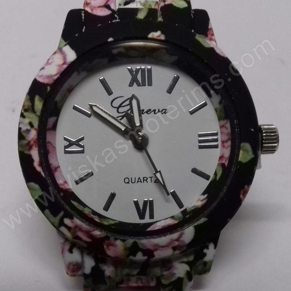 Moteriškas laikrodis matinis su gėlių motyvais