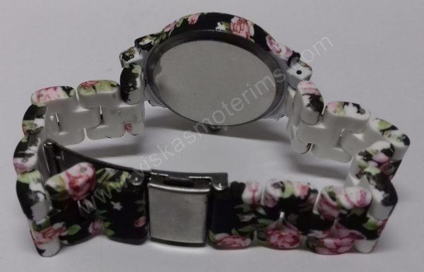 Moteriškas laikrodis matinis su gėlių motyvais - iš galo